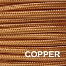 Metal Braided 6 Amp Mains Electrical Cable - COPPER FINISH